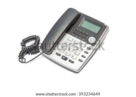 Old phone on white isolated background.(have clipping paths) - stock photo