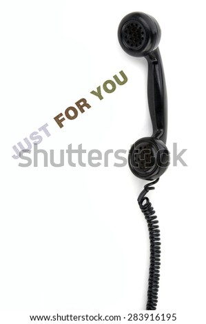 Old phone receiver with inscription just for you - stock photo