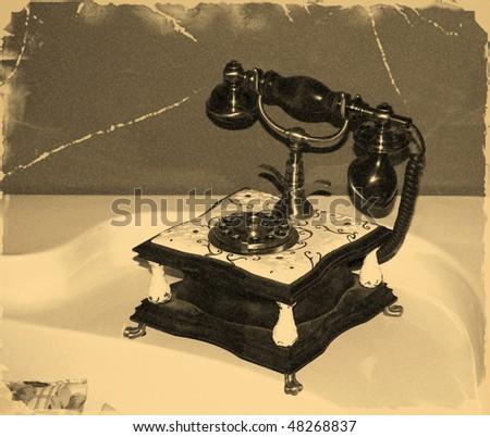 old phone, stylization old photos - stock photo