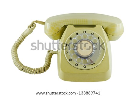 Old phone with isolated background - stock photo
