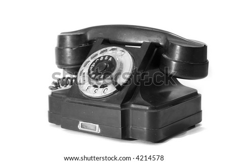 Old phone with Russian letters - stock photo