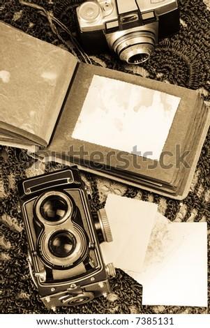 Old photo album - stock photo
