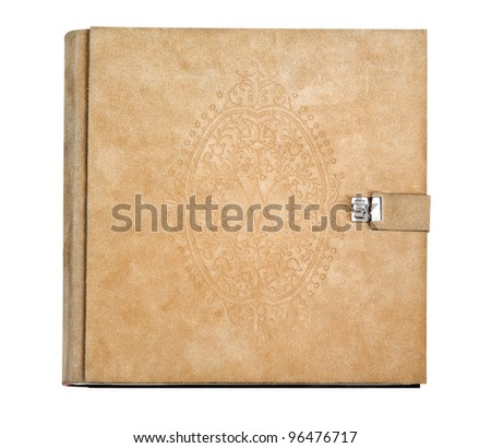 Old photo album on white (with clipping path) - stock photo