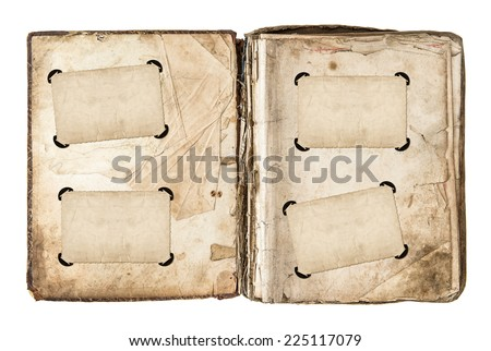 old photo album page with frames and corners isolated on white background. aged paper texture - stock photo