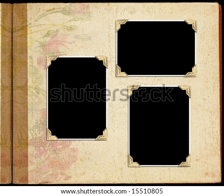 Old photo album with blank photo holders - stock photo