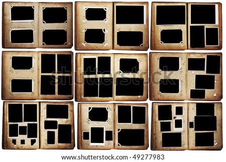 old photo albums set isolated on white background - stock photo