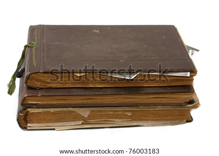 Old photo albums with photography - stock photo