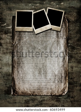 old photo and paper on grunge background - stock photo