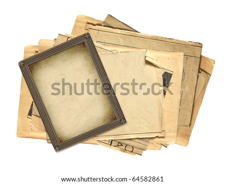 Old photo and paper sheets. Object isolated over white - stock photo