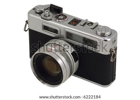 Old Photo Camera. Isolated on White. - stock photo