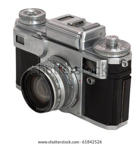 old photo camera isolated on white background with clipping path - stock photo