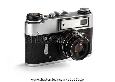 Old Photo Camera, 35 mm. Isolated object in white background. - stock photo