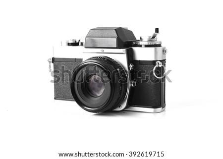 Old photo camera, vintage camera  isolated on white background,retro photo camera - stock photo