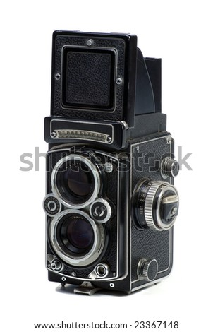 Old  Photo camera with twin lens - stock photo