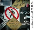 old photo collage design of street signs - stock photo