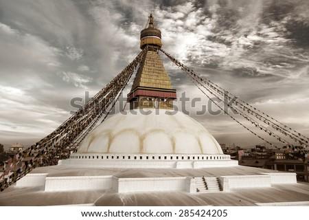 Old photo colored view of Bodhnath stupa - Kathmandu - Nepal  - stock photo