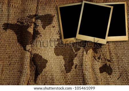 Old photo frame on world map for put  image around the world. - stock photo