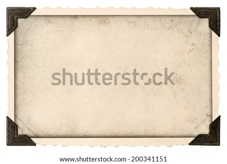 old photo frame with corner and empty field for your picture isolated on white background - stock photo
