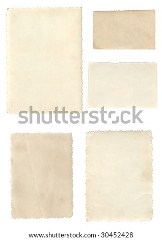 Old photo frames isolated on white - stock photo