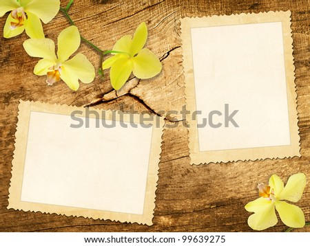 Old photo frames over the wooden background - stock photo
