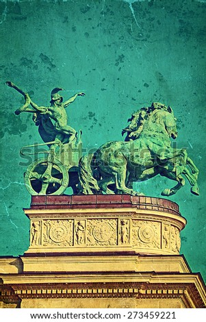 Old photo from Heroes Square Budapest. Vintage processed. - stock photo