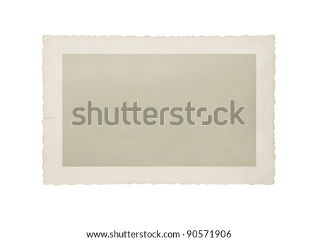 Old photo isolated on white with clipping path for the inside - stock photo