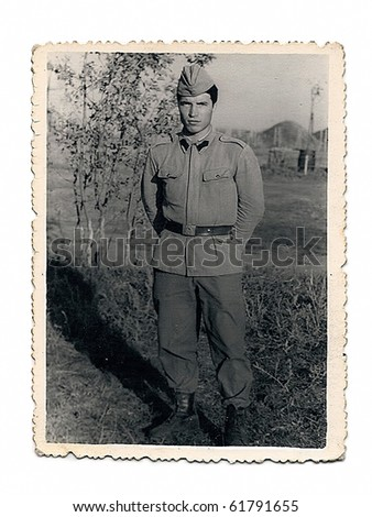 Old photo of a young soldier