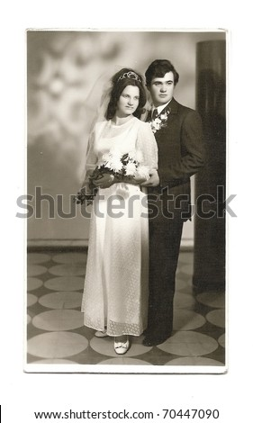 Old photo of married couple - stock photo