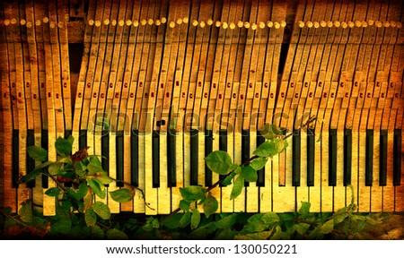 Old Photo of Vintage Broken Piano Outdoor - stock photo