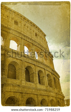 Old photo of world famous Colosseum (in italian Colosseo) in Rome