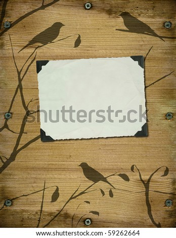 old photo on brown wood - stock photo