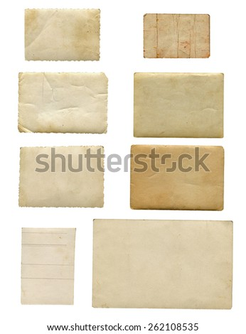 Old photo paper. isolated on white.(Clipping Path)