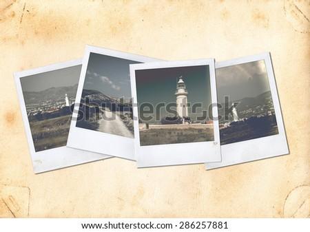 Old photo.polaroid photo. vintage photo. Collage - stock photo
