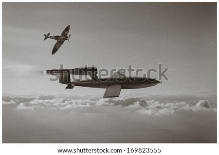 Old Photo Style - Spitfire aircraft trying to intercept V1 Flying Bomb of World War 2 used by the Germans to attack London, England.  (Artist Recreation of Vintage style Photo)