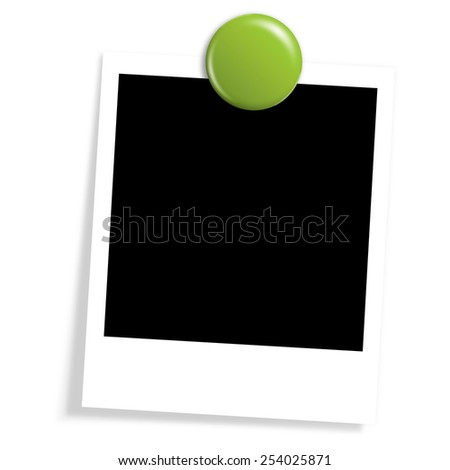 old photo with magnet - stock photo