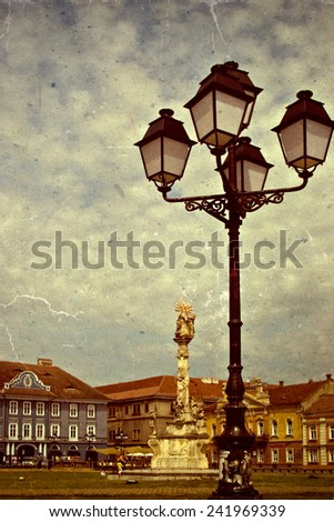 Old photo with Union Square in Timisoara. Vintage processed. - stock photo