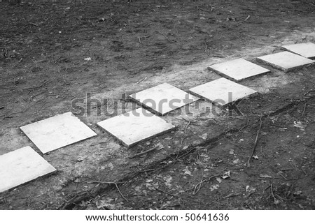 Old photograph of marble stepping stones - stock photo