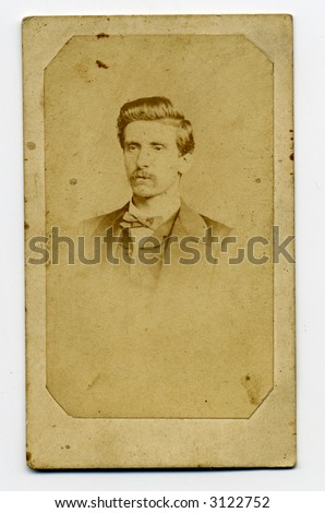 old photograph printed on a card - stock photo