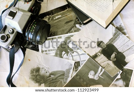 old photographs and old camera. Youth of my mom. - stock photo