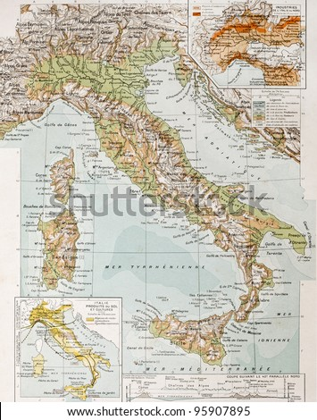 Old physical map of Italy. By Paul Vidal de Lablache, Atlas Classique, Librerie Colin, Paris, 1894 (first edition) - stock photo