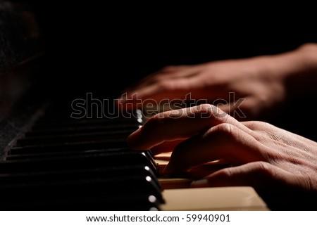 old piano - stock photo