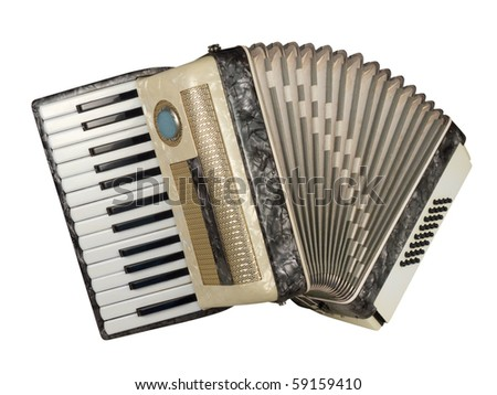 Old piano accordion with artificial nacre texture, isolated over white, with clipping path - stock photo