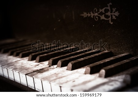 old piano buttons close up - stock photo