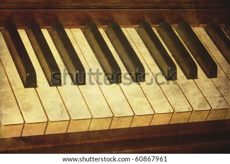 Old piano grunge music stained photo. - stock photo