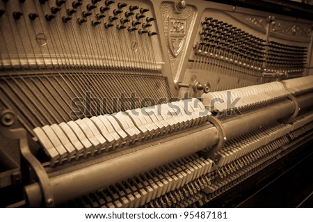 old piano inside - stock photo