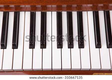 Old piano keyboard. White and black keys in perspective. - stock photo