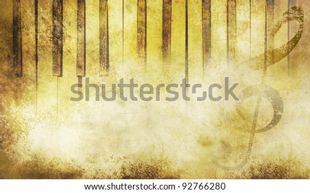 Old piano keys in grunge style. Music concept. - stock photo