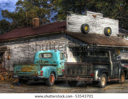Old Pick up trucks - stock photo