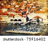 Old pictorial Dubrovnik town in Croatia. Artistic picture - stock photo