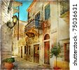old pictorial streets of Greece - artistic picture - stock vector